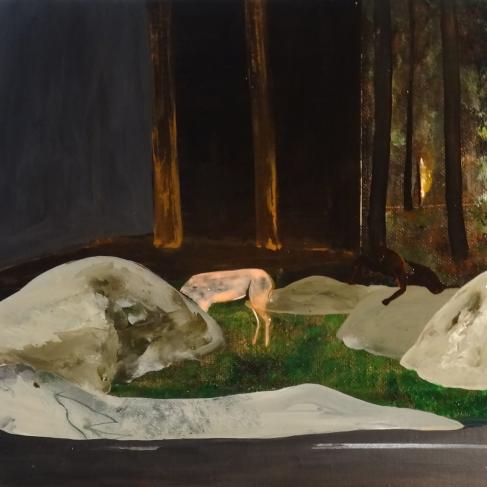 Tentative - acrylique sur bois - 40 x 40 cm - 2013